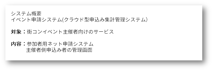 システム概要<br /><br /><br /> イベント申請システム(クラウド型申込み集計管理システム)<br /><br /><br /> 対象:街コンイベント主催者向けのサービス<br /><br /><br /> 内容:参加者用ネット申請システム<br /><br /><br /> 主催者側申込み者の管理画面